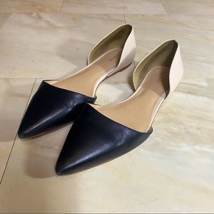 Lands' End d'orsay black and nude flats loafers